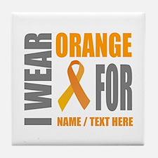 Orange Awareness Ribbon Customized Tile Coaster
