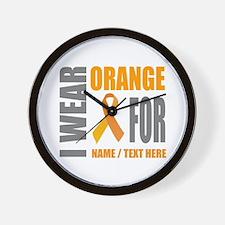 Orange Awareness Ribbon Customized Wall Clock