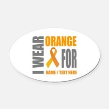 Orange Awareness Ribbon Customized Oval Car Magnet