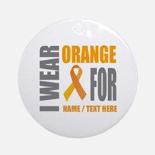 Orange Awareness Ribbon Customized Round Ornament