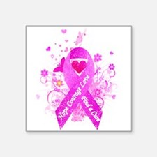 "Pink Ribbon Vintage Square Sticker 3"" x 3"""