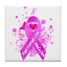 Pink Ribbon Vintage Tile Coaster