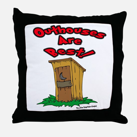 Cute Outhouse Throw Pillow