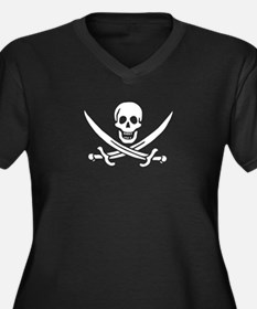 Calico Jack Flag Women's Plus Size V-Neck Dark T-S