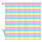 Colorful Chevron Waves Shower Curtain