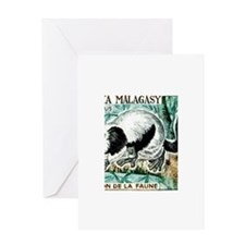 1961 Madagascar Ruffled Lemur Stamp Greeting Card