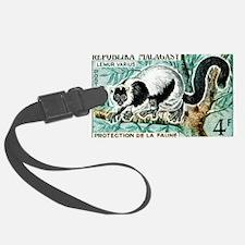 1961 Madagascar Ruffled Lemur Stamp Luggage Tag