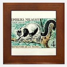 1961 Madagascar Ruffled Lemur Stamp Framed Tile