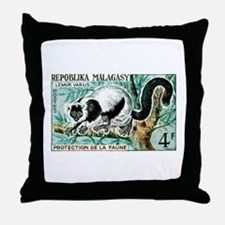 1961 Madagascar Ruffled Lemur Stamp Throw Pillow