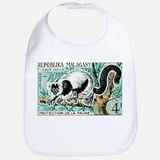 1961 Madagascar Ruffled Lemur Stamp Bib