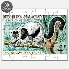 1961 Madagascar Ruffled Lemur Stamp Puzzle