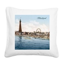 Vintage Blackpool Square Canvas Pillow