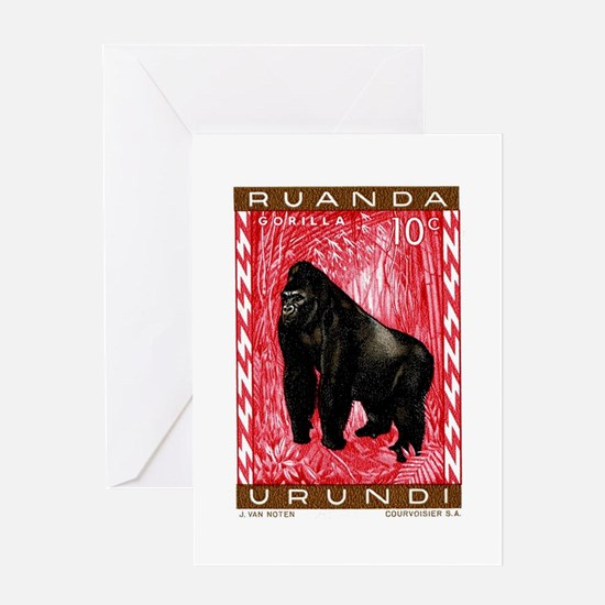 1959 Rwanda Mountiain Gorilla Stamp Greeting Card