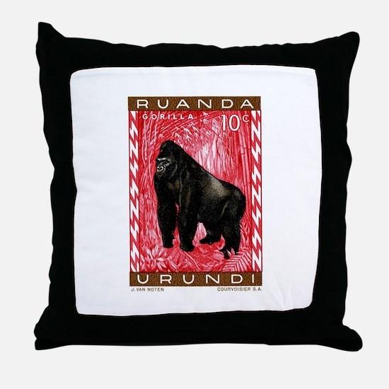 1959 Rwanda Mountiain Gorilla Stamp Throw Pillow