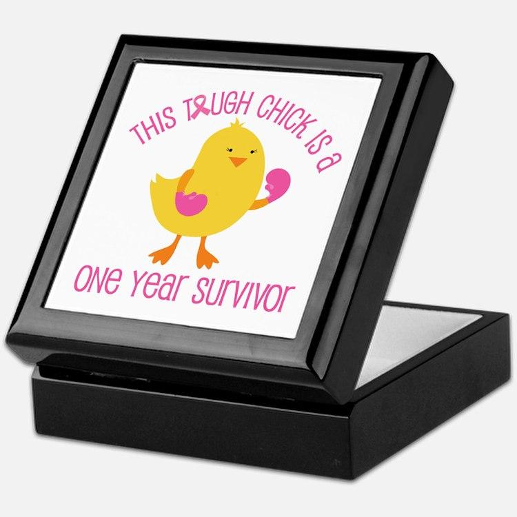 Breast Cancer 1 Year Survivor Chick Keepsake Box