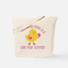 Breast Cancer 1 Year Survivor Chick Tote Bag