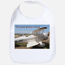 I'm just plane crazy: white & brown biplane Bib