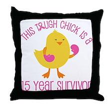 Breast Cancer 15 Year Survivor Chick Throw Pillow