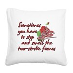 Two-Stroke Roses Square Canvas Pillow