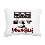 Nothing but Snowmobiles Rectangular Canvas Pillow