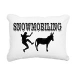 Snowmobiling Kicks Donkey Rectangular Canvas Pillo
