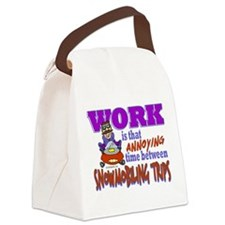 Work vs Snowmobiling Trips Canvas Lunch Bag