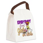 Girls on Sleds Canvas Lunch Bag