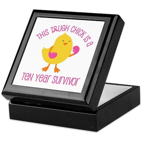 Breast Cancer 10 Year Survivor Chick Keepsake Box