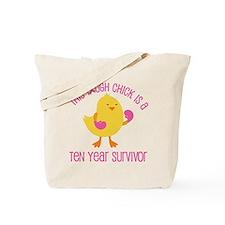 Breast Cancer 10 Year Survivor Chick Tote Bag