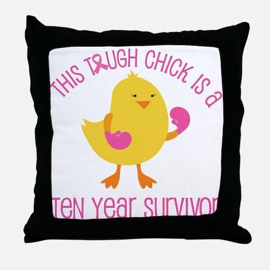 Breast Cancer 10 Year Survivor Chick Throw Pillow