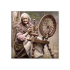 "Irish spinner and spinning wheel Square Sticker 3"""