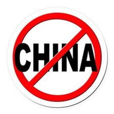 Anti / No China Round Car Magnet