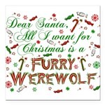 "CHRISTMASwolf.png Square Car Magnet 3"" x 3"""