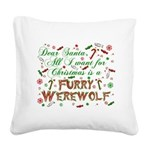 CHRISTMASwolf.png Square Canvas Pillow