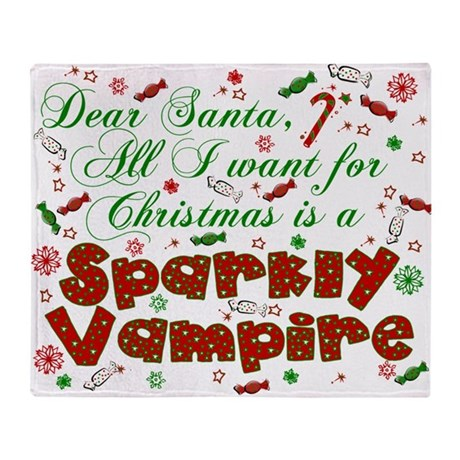 Dear Santa Vampire Throw Blanket