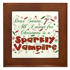 Dear Santa Vampire Framed Tile