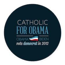 Catholic For Obama Round Car Magnet