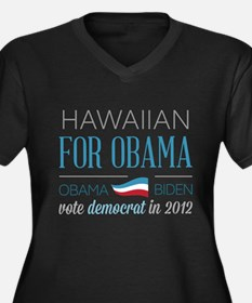 Hawaiian For Obama Women's Plus Size V-Neck Dark T