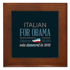 Italian For Obama Framed Tile