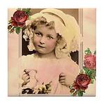 Vintage Girl with Flowers Keepsake Tile Coaster