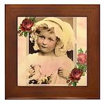 Vintage Girl with Flowers Framed Tile