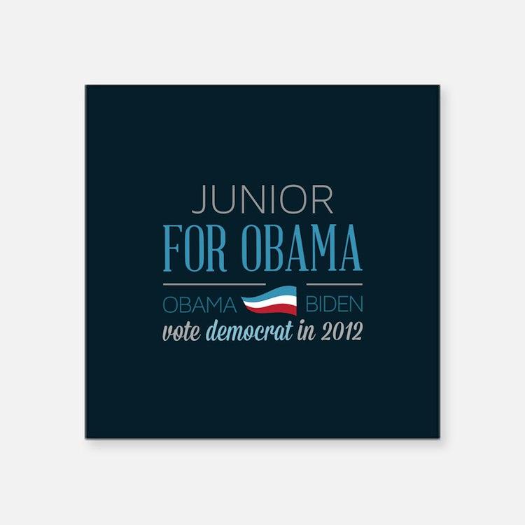 "Junior For Obama Square Sticker 3"" x 3"""