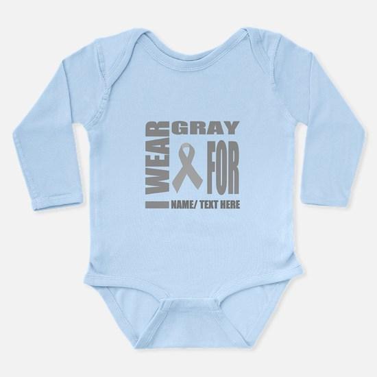 Gray Awareness Ribbon Long Sleeve Infant Bodysuit