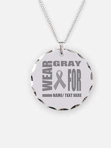 Gray Awareness Ribbon Custom Necklace Circle Charm
