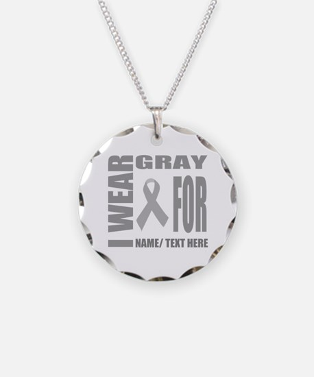 Gray Awareness Ribbon Custom Necklace Circle Charm
