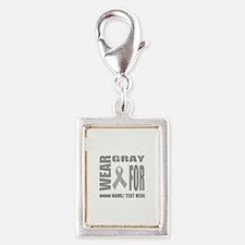 Gray Awareness Ribbon Custom Silver Portrait Charm