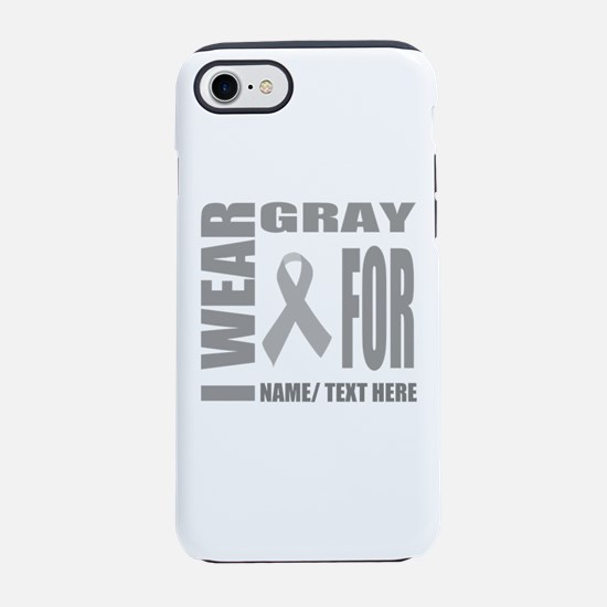 Gray Awareness Ribbon Customiz iPhone 7 Tough Case