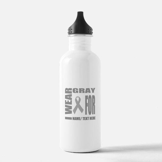 Gray Awareness Ribbon Water Bottle