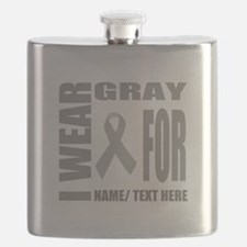 Gray Awareness Ribbon Customized Flask
