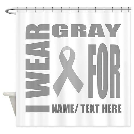 gray awareness ribbon customized shower curtain